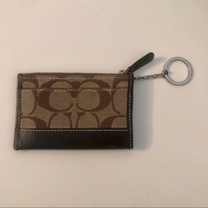 Coach Logo Card Holder Wallet with Keychain